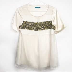 Alice & Olivia Silk Beaded Top